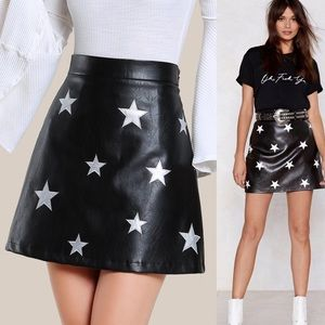 🆕Silver star patch vegan leather high waist skirt